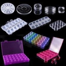 1 stücke Kunststoff Leere Lagerung Fall Boxen Maniküre Werkzeuge Transparent Glitter Kristall Strass Dispaly Container Organizer JI538
