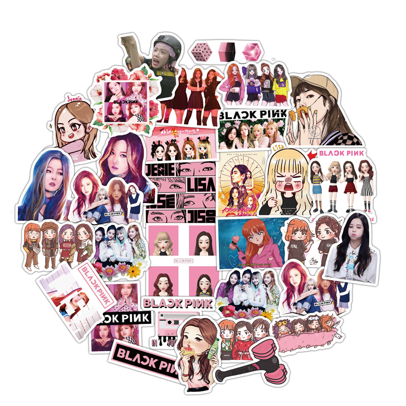 50pcs Pack K-POP BLACKPINK Decal Stickers JISOO JENNIE ROSE LISA Paper Stationery Stickers Fans Collection Gift