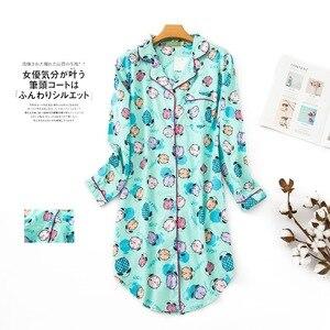 Image 3 - בתוספת גודל סתיו כותונות נשים כותנות לילה הלבשת חורף sleepshirts 100% מוברש כותנה טרי נשים לילה שמלה