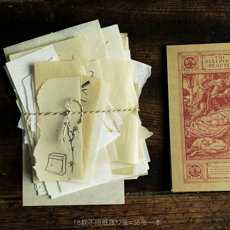 WOKO 36sheets/pack Vintage Onion Paper Lace Letter Paper Old Book Page Base Material Write Note Sticker DIY Bullet Journal Stamp