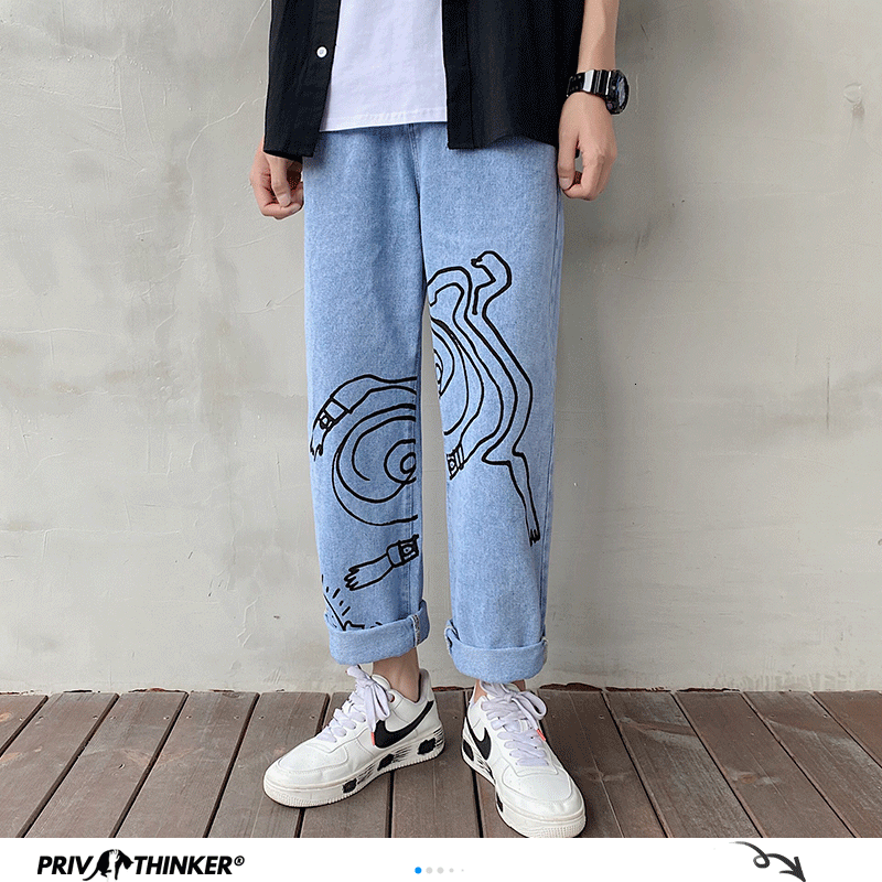 Privathinker Mens 2020 Printed Ripped Straight Jeans Man Summer Oversize Casual Jeans Male Hip Hop Vintage Denim Pants Bottoms