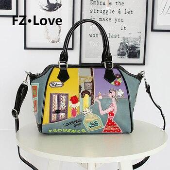 Women Handbags and Purse Embroidery Applique Girls Ladies Shoulder Bag Top Handle Satchel Tote Work Bag PU Leather Crossbody Bag