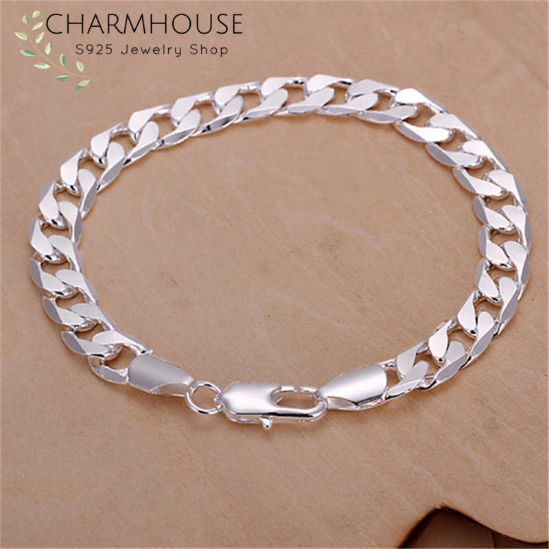 Charmhouse Pure Silver 925 Bracelets For Men 8mm Link Chain Bangle Bracelet Wristband Pulseira Man Jewelry Accessories Bijoux
