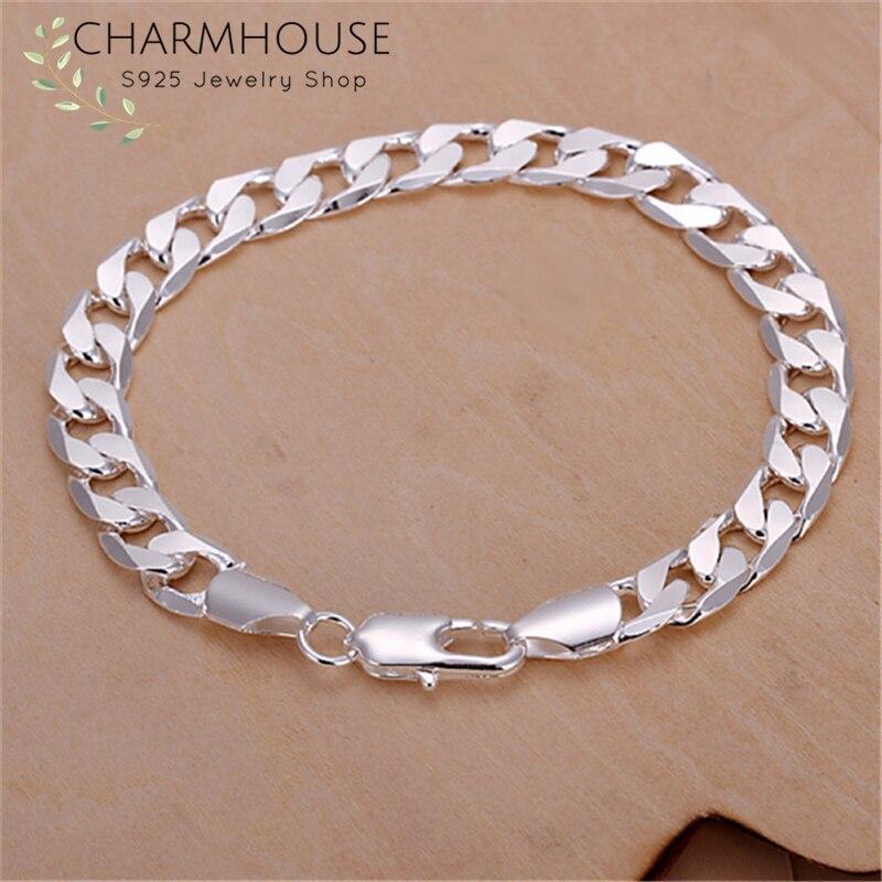 Charmhouse Pure Silver 925 Bracelets For Men 8mm Link Chain Bangle Bracelet Wristband Pulseira Man Jewelry Accessories Bijoux