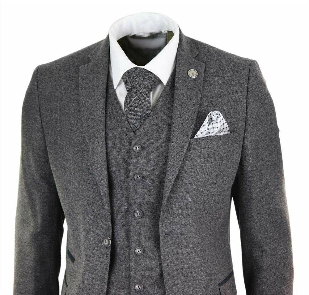 Boys 3 Piece Suit Beige Tweed Wool Peaky Blinders Vintage Kids Classic 1920s