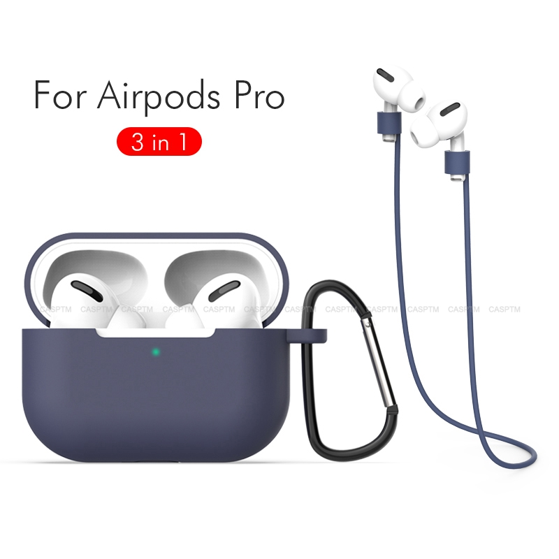 3 In 1 Soft Silicone Shockproof Case For Apple AirPods Pro Earphones Case Anti Lost Rope For Apple Air Pods 3 2019 With Keychain