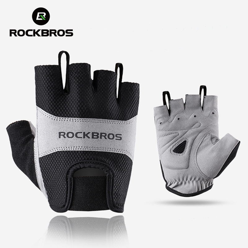 ROCKBROS Cycling Gloves Winter Half Finger Bike Breathable Mountain Road Bicycle Men Sport