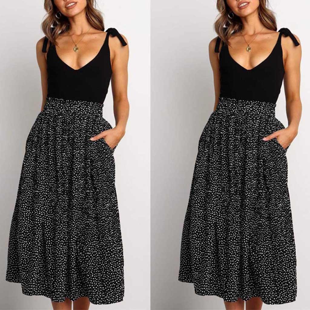 Women's winter fashion retro high waist wave point temperament ruffled medium calf leather printed A-line skirt#40