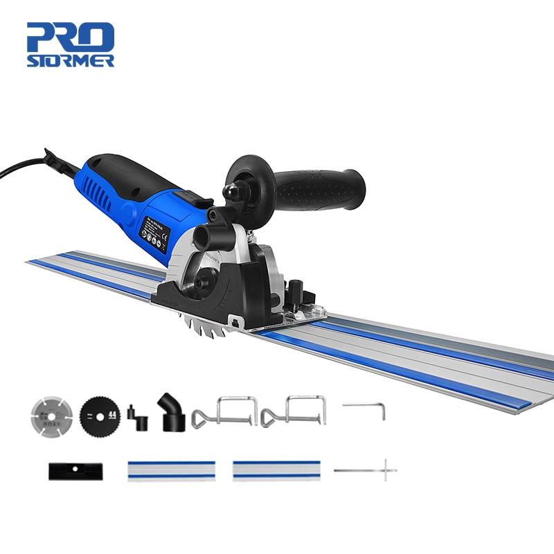 PROSTORMER Mini scie circulaire 500W 220V vitesse réglable scie électrique 2 lames bricolage outils électriques coupe-bois Guide règle scie fixe