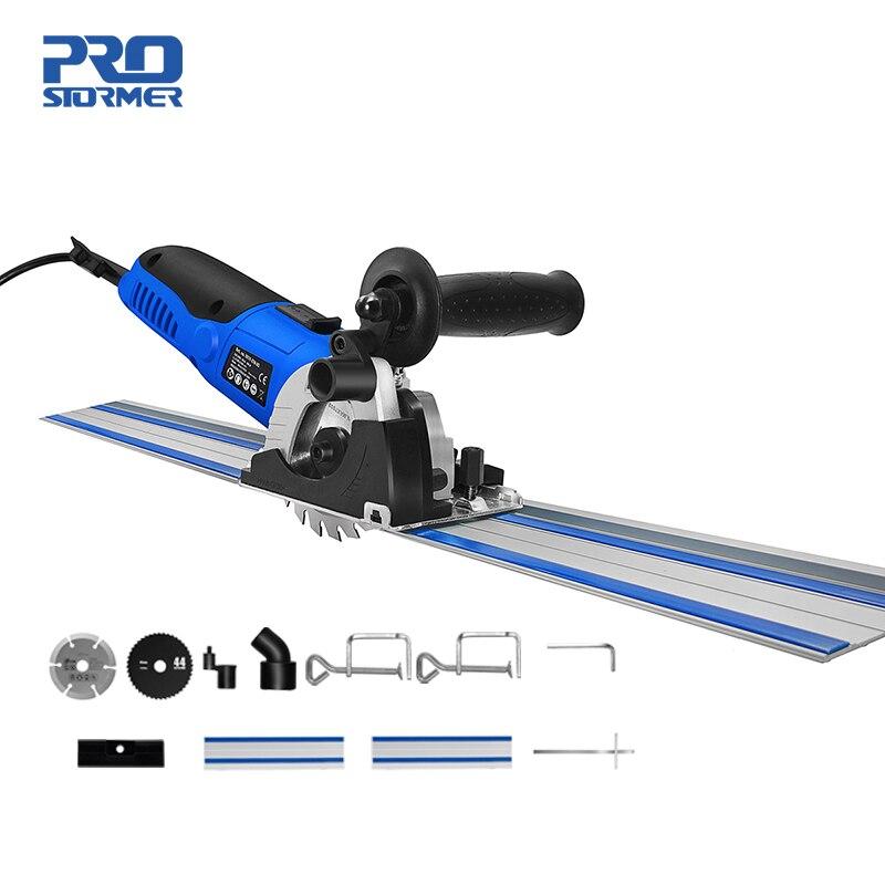 PROSTORMER Mini scie circulaire 500W 220V vitesse réglable scie électrique 3 lames bricolage outils électriques coupe-bois Guide règle scie fixe