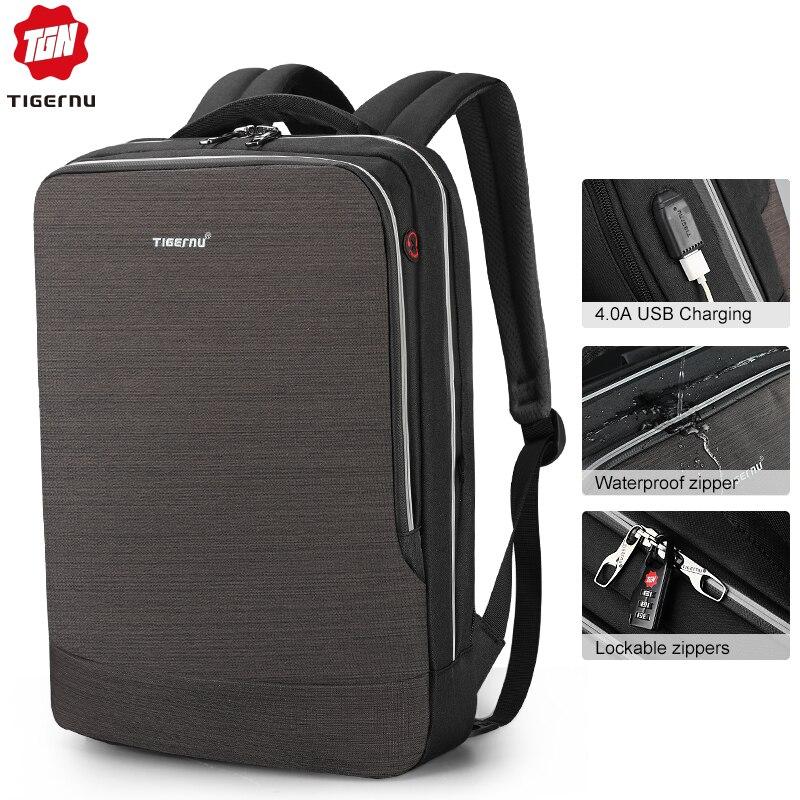 Nowy Tigernu plecak męski 4.0A USB szybkie ładowanie Anti Theft plecak mężczyzna do 15.6 Laptop biznesu plecak podróżny mężczyźni Mochila w Plecaki od Bagaże i torby na  Grupa 1