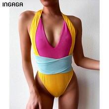 Ingaga高カットワンピース水着ディープv水着女性リブパッチワークボディークロス包帯2021セクシーバック海水浴客