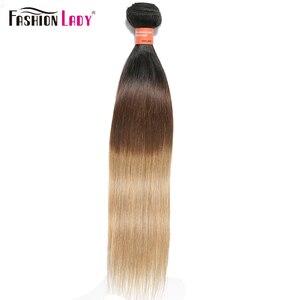 Image 1 - Extensiones de pelo ondulado brasileño precoloreado para mujer, mechones rectos de pelo humano ombré 1b/4/27, 1 unidad por paquete, no Remy