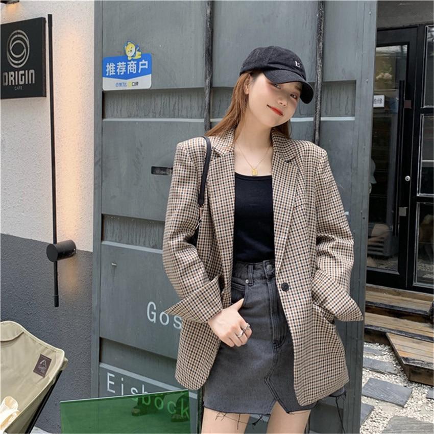 Fashion Autumn Women Plaid Blazers and Jackets Work Office Lady Suit Slim Business Female Blazer Coat Talever