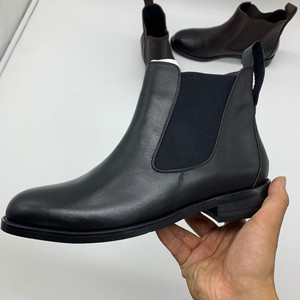 Image 3 - NEMAONE Women Genuine Leather Boots Brogue Carved Ankle Boots Fashion Chelsea Low Heels Ladies Booties Spring 2019 Ladies Shoes