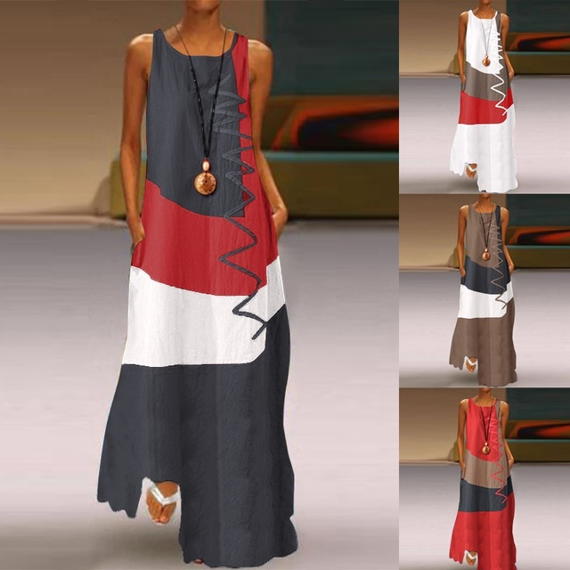 Cotton linen Plus size Vintage patchwork Women casual loose maxi long summer dress elegant clothes 2020 ladies dresses sundress
