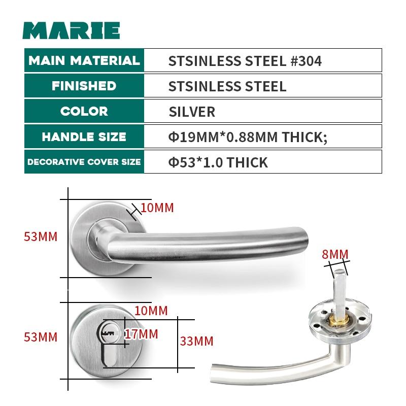 Купить с кэшбэком MARIE Interior Stainless Steel Door Handle  Bedroom Door Lock Bathroom Split Door Knob Household Accessories