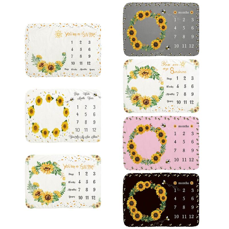 100x70cm Newborns Photography Blanket Baby Monthly Milestone Blanket Sunflower Photo Drops For Infants Boys Girls Gifts