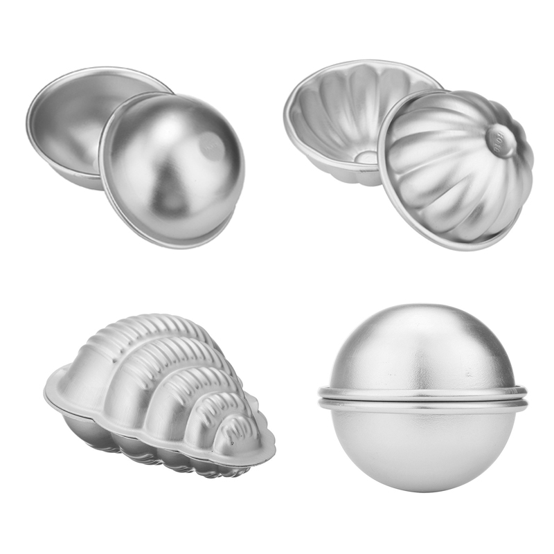 4 Types Aluminum Alloy 3D Bath Bombs Mold Ball Sphere Shape Bath Salt Bomb Mould Set Mold DIY Bathing Tool Accessories
