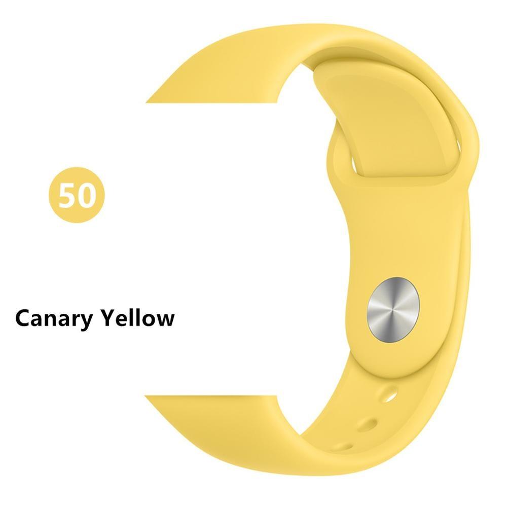 Ремешок для apple watch band 44 мм/40 мм iwatch band 5 4 42 мм 38 мм correa pulseira watch band для apple watch 5 4 3 браслет 44 мм - Цвет ремешка: Canary Yellow