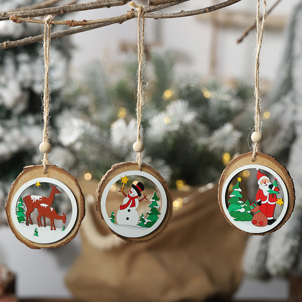 Christmas Decorations Round Hollow Wooden Pendants Santa Claus Elk Snowman Disgn Small Tree Hanging Ornaments Dress Up Home F92 Pendant Drop Ornaments Aliexpress