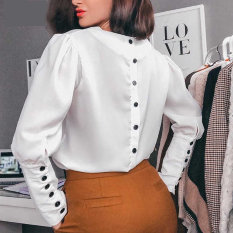 Белая блузка на пуговицах с длинным рукавом и v-образным вырезом, сексуальные однотонные топы и блузки для женщин, осень 2019, модные офисные женские повседневные рубашки
