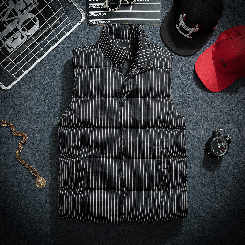 Cotton Padded Stand Collar Vest Men Nice Winter Stripe Sleeveless Men Warmth Down Vest Jacket Man Gilet Homme Clothing