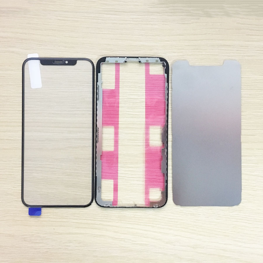 Front Outer <font><b>Glass</b></font> with OCA+Frame Bezel with Sticker+Metal sheets for <font><b>iPhone</b></font> <font><b>X</b></font> XR XS XS MAX Replacement <font><b>Repair</b></font> Parts image