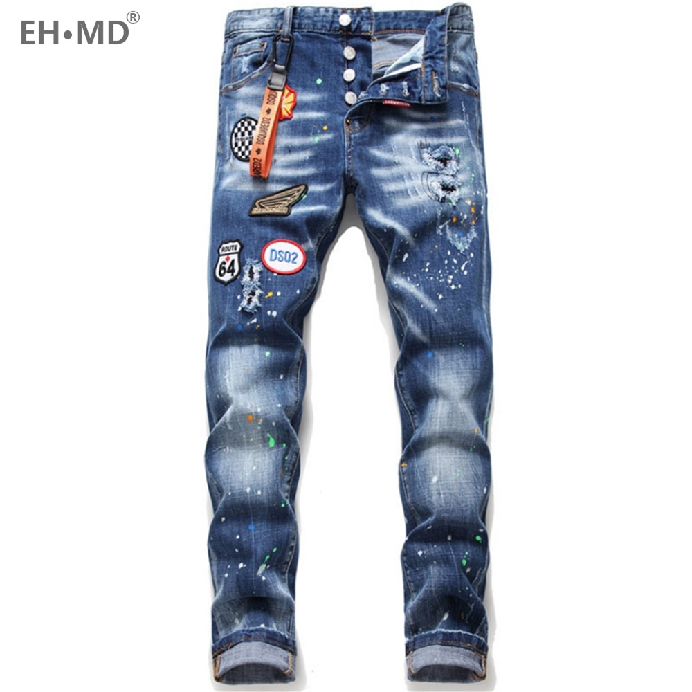 EH·MD® Hole Badge Letter Jeans Men's Embroidery Splash Ink Soft Hanging Decoration Loose Cotton Elastic Pants Red Ears 2020 New