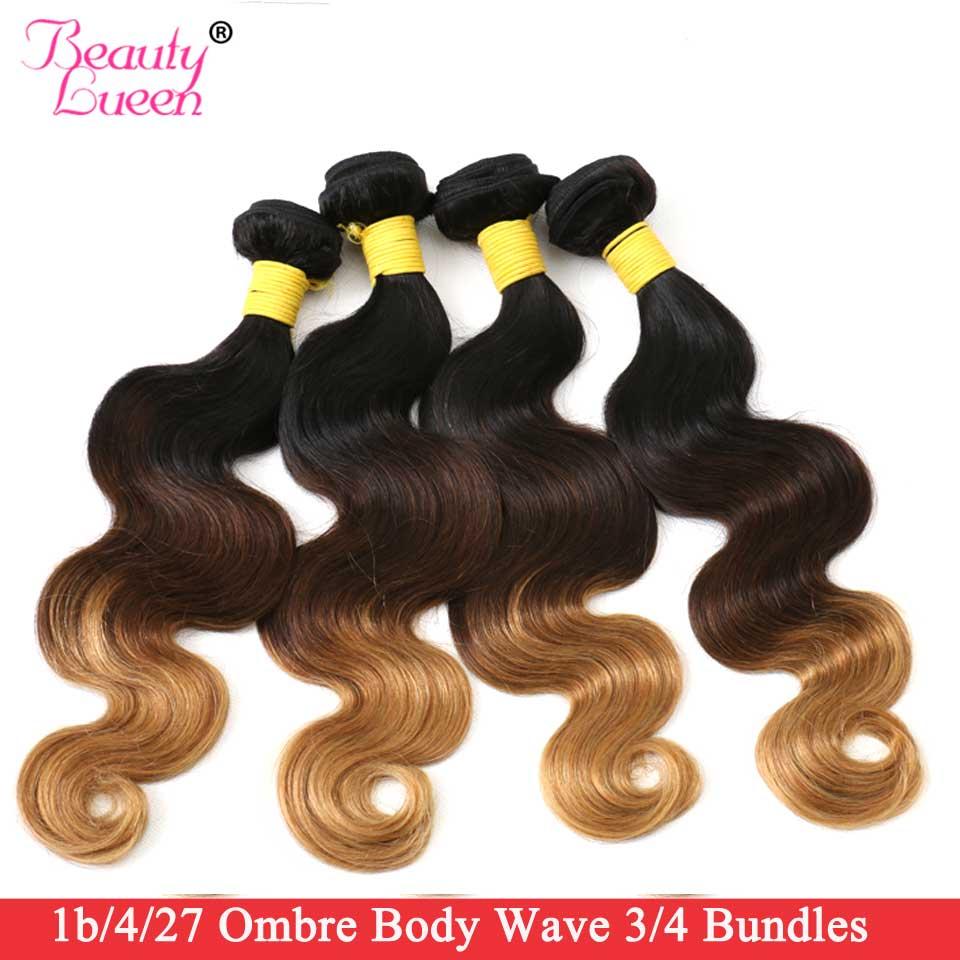 Ombre Body Wave Bundles Brazilian Hair Weave 3/4 Bundles Human Hair Bundles Non-Remy 1B/4/30 Beauty Lueen Human Hair Extensions