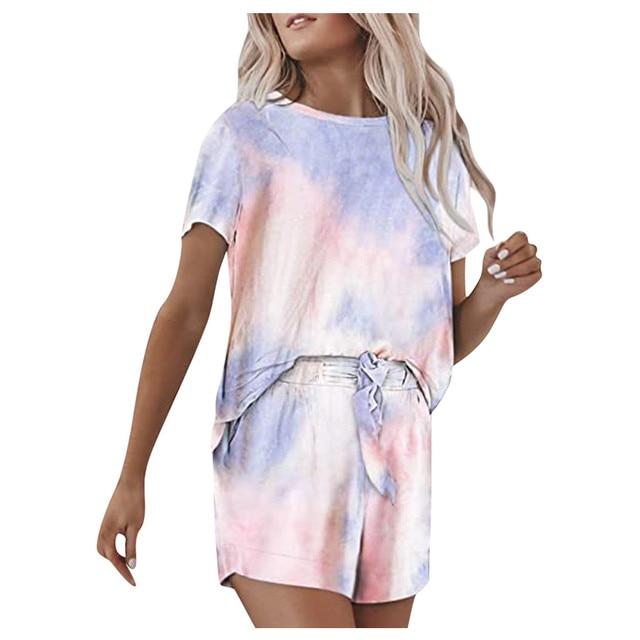 Women Set Gradient Casual Outfits Crewneck Short Sleeve 2 Piece Short Set Pajamas Ropa De Mujer Спортивный Костюм Женск 2020