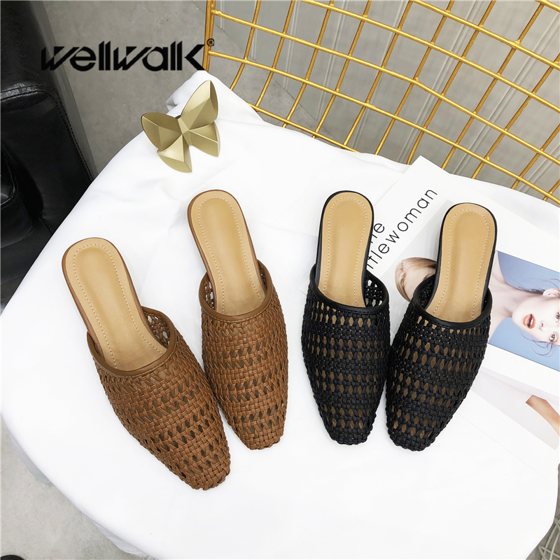 Wellwalk Heel Mules Shoes Women Cane Weaving Slippers Female Designer Slides Ladies Brand Slippers Women High Slides