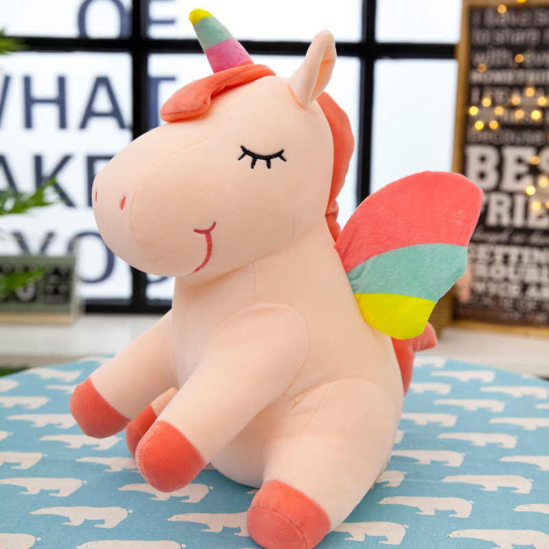 25CM חדש רך חמוד קשת סגנון Unicorn צעצוע קטיפה צעצועי כנפי מלאך חיות סוס ילדי צעצועים תינוק בובות יום הולדת מתנות