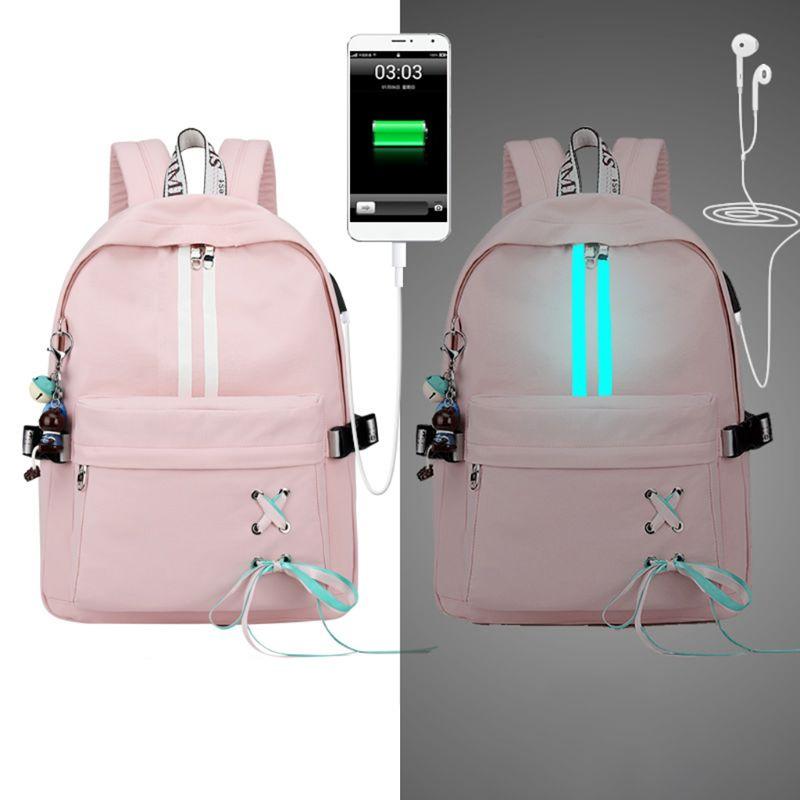 Mode Anti-vol réfléchissant femmes sac à dos USB Charge écouteur trou sacs d'école filles voyage sacoche pour ordinateur portable sacs à dos M5TE