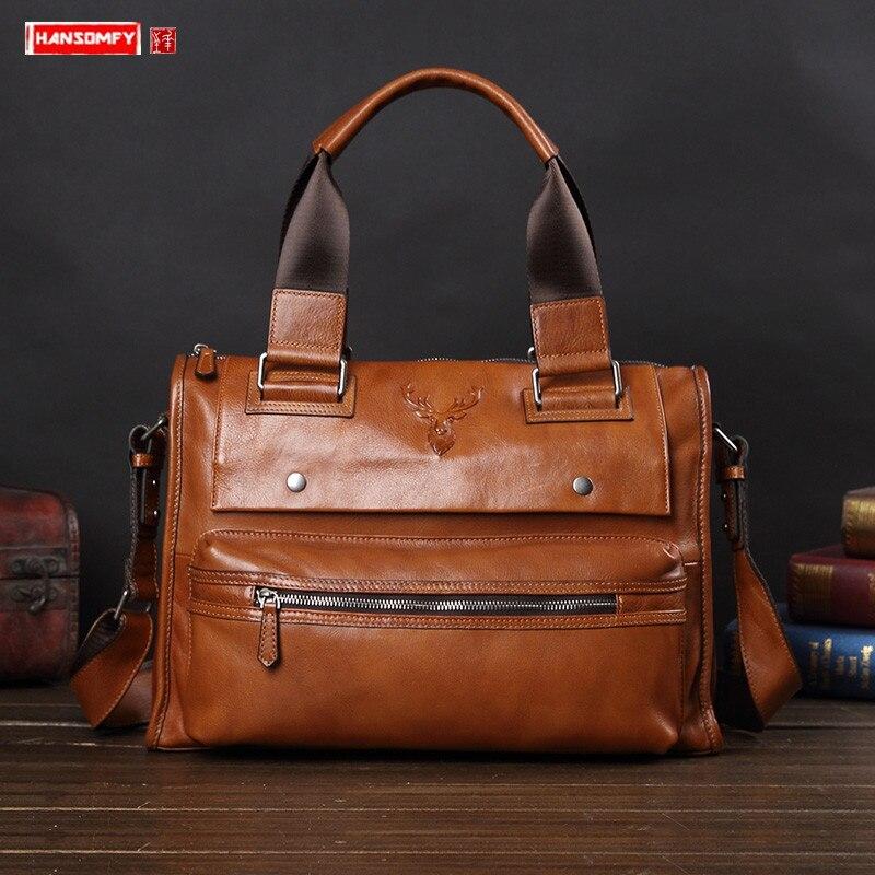 New Men's Bag Leather Large Capacity Handbag Business Casual Soft Leather Briefcase Men Shoulder Messenger Bag Computer Bag Male
