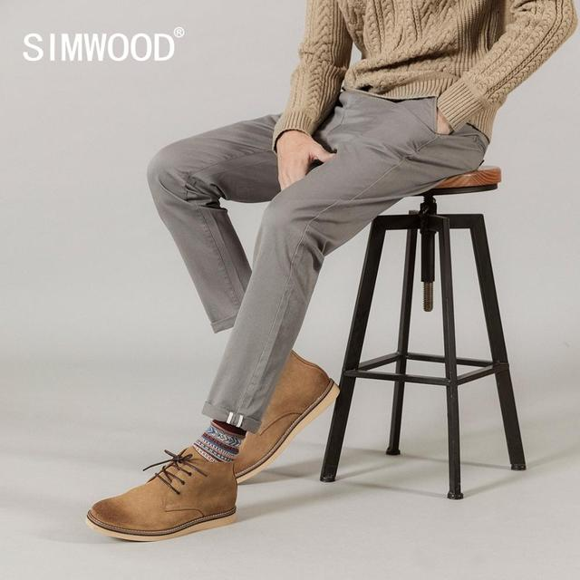 SIMWOOD 2020 spring summer New Casual Pants Men  Cotton Slim Fit Chinos Fashion Trousers Male Brand Clothing Plus Size 3