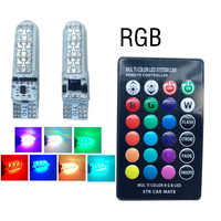 Luz LED Canbus T10 RGB 6 SMD 194 W5W para Interior de coche, Bombilla de Flash estroboscópico, control remoto inalámbrico, 1 Juego