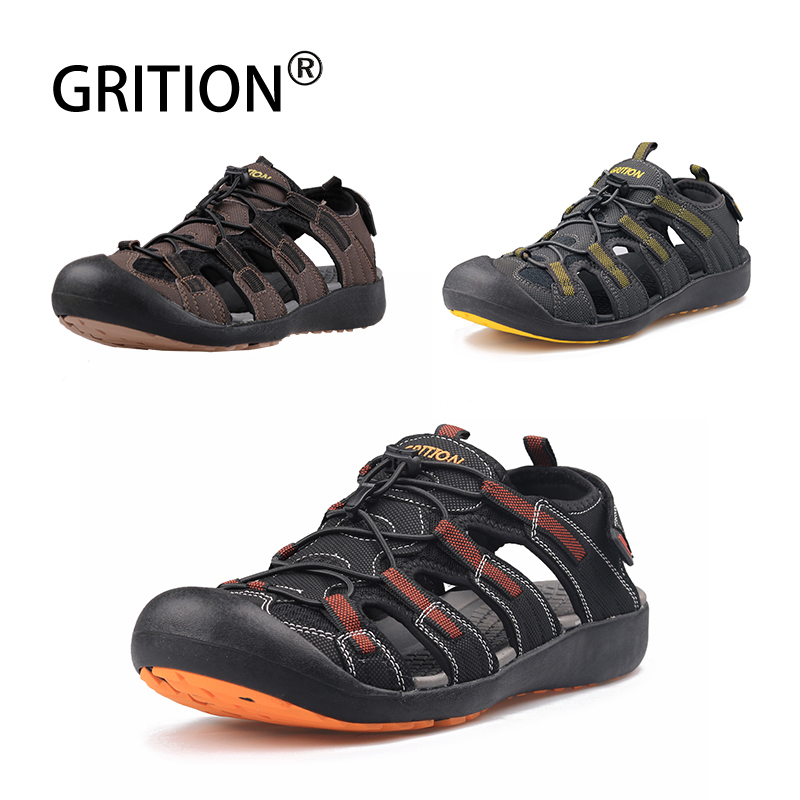 GRITION 2020 Sandals Men Outdoor Summer Shoes Beach Flat Sandals Comfortable Male Shoes Leather Breathable Hiking Trekking Shoes