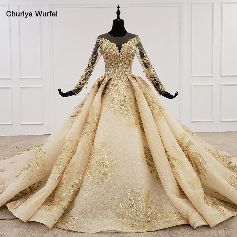 HTL1124 Golden Lace Wedding Dresses Princess Cut O-neck Sequins Long Sleeve Wedding Gowns Champagne Vestido De Noiva Manga Longa