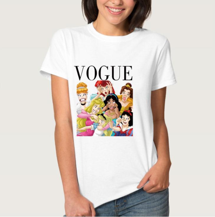 Funny Princess Vogue Print T Shirt Women Short Sleeve O Neck Loose Tshirt 2020 Summer Fashion Women Tee Shirt Tops
