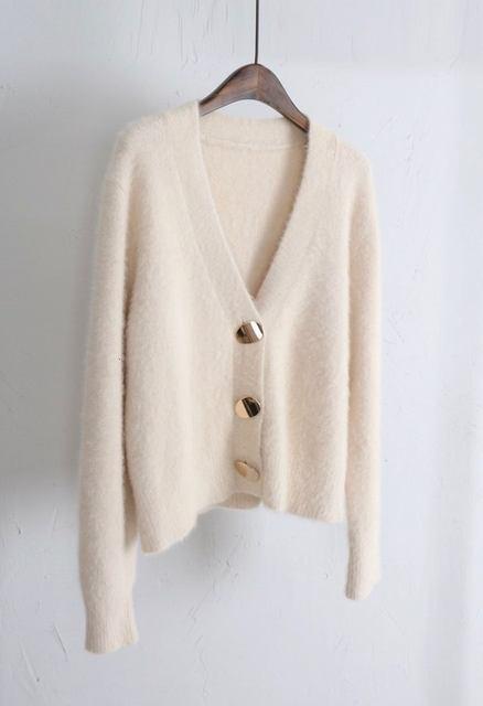Mooirue Autumn Women Soft White Knitted Cashmere Sweater Double Button Women Warm Jumper V-Neck Winter Sweater 58