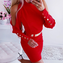 Womens Cold Shoulder Backless Sexy Dress Ladies Long Sleeve Button Bodycon Mini Dress Femme Solid Crew Neck Party Club Dress round neck cold shoulder womens bodycon dress