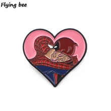 Flyingbee Deadpool Kiss Funny Cartoon Enamel Pin For Clothes Bags Backpack badge Cute Brooch Shirt Lapel Pins X0404