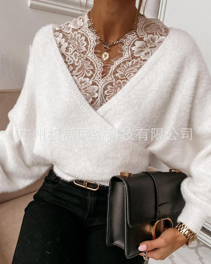 WEPBEL Women's Casual Long Sleeve Lace V-neck Patchwork Pullover Tops Autumn Winter Fashion Solid Color Plush Tops 4