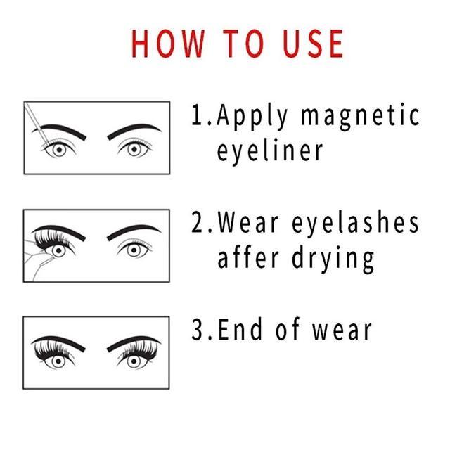 YAPEMAKER 3 paires de cils magnétiques 3D faux cils de vison aimant cils magnétique liquide Eyeliner et pince à épiler ensemble outils de maquillage