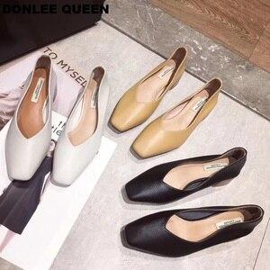 Image 2 - Donlee queen 두꺼운 뒤꿈치 신발 여성 펌프 스퀘어 발가락 작업 신발 슬립 하이힐 가을 신발 얕은 신발 zapatos de mujer