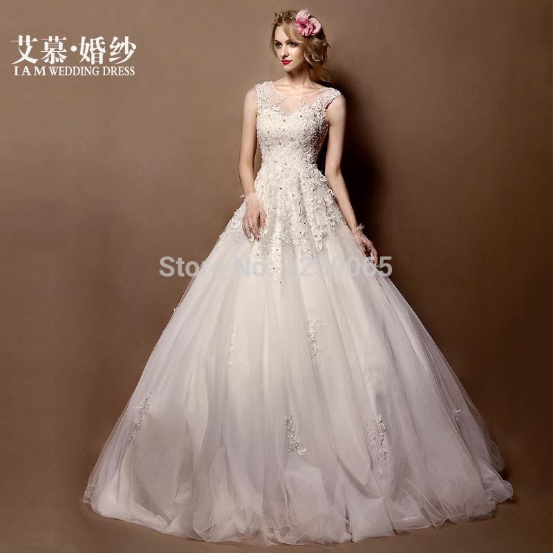Free Shipping Romantic 2016 Ball Gown Casamento Crystal Beading Vestido De Noiva Sexy Appliques Lace Wedding Dress Bride Dresses