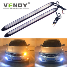 2x Auto LED Turn Signal+Daytime Running Light Strip Dual Mode Headlight Sequential Flow Day Light DRL Universal 12V For The Car