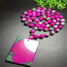 2019 best selling Stone Red Green  Pendant Beads Womens Sweater Chain Fashion