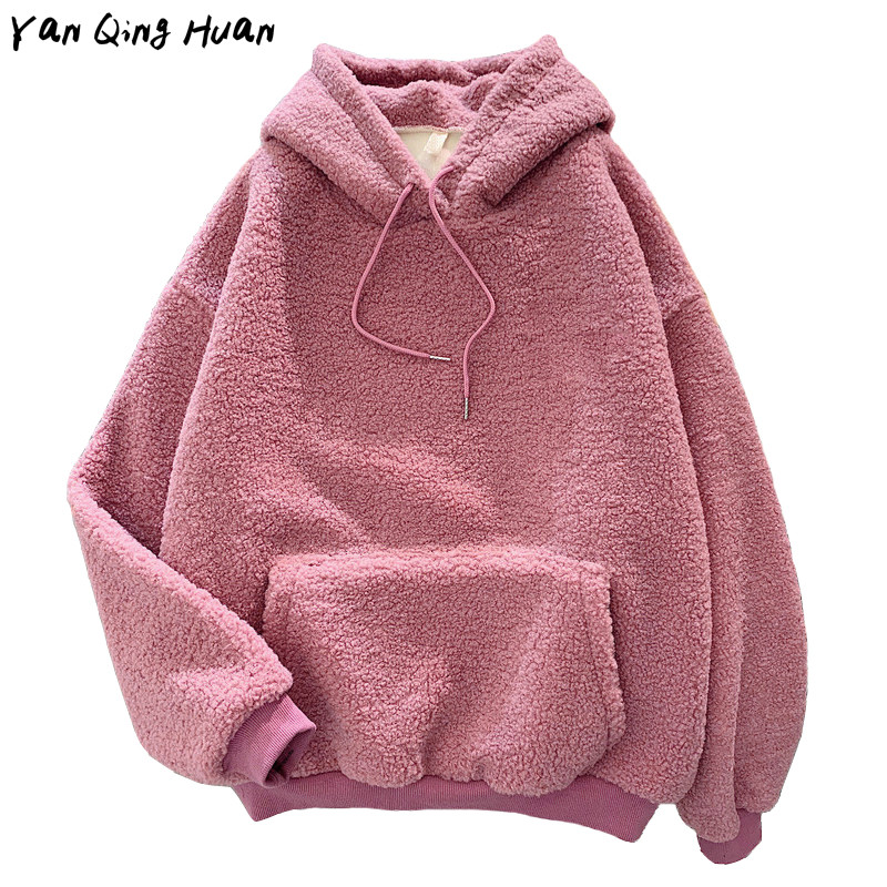 Women's High-quality Warm Flannel Pullover Sweatshirt Winter Sweet Hooded Embroidery Letters Print Harajuku Loose Pocket Hoodies